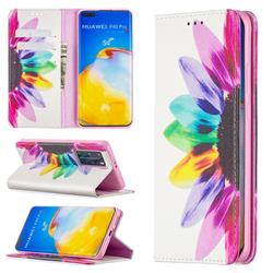 Sun Flower Slim Magnetic Attraction Wallet Flip Cover for Huawei P40 Pro
