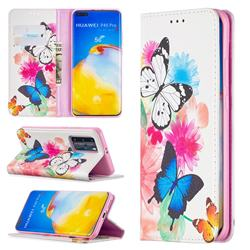 Flying Butterflies Slim Magnetic Attraction Wallet Flip Cover for Huawei P40 Pro