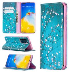 Plum Blossom Slim Magnetic Attraction Wallet Flip Cover for Huawei P40 Pro