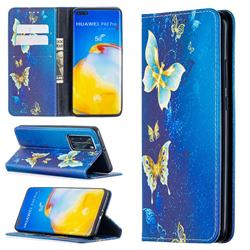 Gold Butterfly Slim Magnetic Attraction Wallet Flip Cover for Huawei P40 Pro