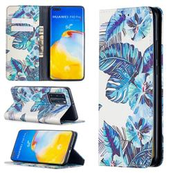 Blue Leaf Slim Magnetic Attraction Wallet Flip Cover for Huawei P40 Pro