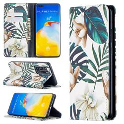 Flower Leaf Slim Magnetic Attraction Wallet Flip Cover for Huawei P40 Pro