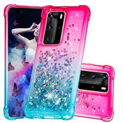 Rainbow Gradient Liquid Glitter Quicksand Sequins Phone Case for Huawei P40 Pro - Pink Blue