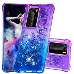 Rainbow Gradient Liquid Glitter Quicksand Sequins Phone Case for Huawei P40 Pro - Purple Blue
