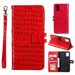 Luxury Crocodile Magnetic Leather Wallet Phone Case for Huawei P40 Pro - Red