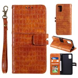 Luxury Crocodile Magnetic Leather Wallet Phone Case for Huawei P40 Pro - Brown