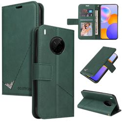 GQ.UTROBE Right Angle Silver Pendant Leather Wallet Phone Case for Huawei P40 Pro - Green