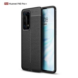 Luxury Auto Focus Litchi Texture Silicone TPU Back Cover for Huawei P40 Pro+ / P40 Plus 5G - Black