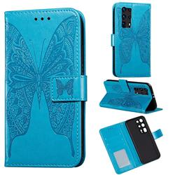 Intricate Embossing Vivid Butterfly Leather Wallet Case for Huawei P40 Pro+ / P40 Plus 5G - Blue