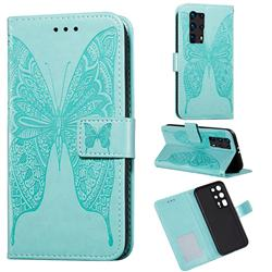 Intricate Embossing Vivid Butterfly Leather Wallet Case for Huawei P40 Pro+ / P40 Plus 5G - Green