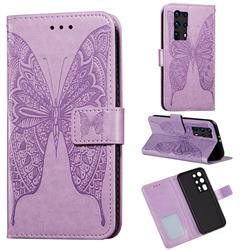Intricate Embossing Vivid Butterfly Leather Wallet Case for Huawei P40 Pro+ / P40 Plus 5G - Purple