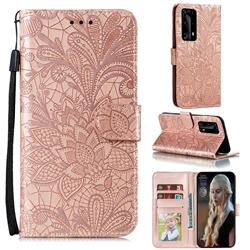 Intricate Embossing Lace Jasmine Flower Leather Wallet Case for Huawei P40 Pro+ / P40 Plus 5G - Rose Gold
