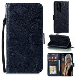 Intricate Embossing Lace Jasmine Flower Leather Wallet Case for Huawei P40 Pro+ / P40 Plus 5G - Dark Blue