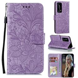 Intricate Embossing Lace Jasmine Flower Leather Wallet Case for Huawei P40 Pro+ / P40 Plus 5G - Purple