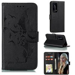 Intricate Embossing Lychee Feather Bird Leather Wallet Case for Huawei P40 Pro+ / P40 Plus 5G - Black