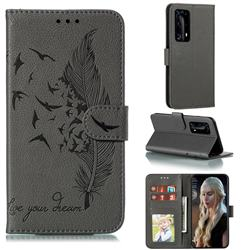 Intricate Embossing Lychee Feather Bird Leather Wallet Case for Huawei P40 Pro+ / P40 Plus 5G - Gray