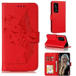 Intricate Embossing Lychee Feather Bird Leather Wallet Case for Huawei P40 Pro+ / P40 Plus 5G - Red
