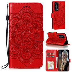 Intricate Embossing Datura Solar Leather Wallet Case for Huawei P40 Pro+ / P40 Plus 5G - Red