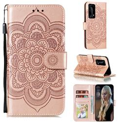 Intricate Embossing Datura Solar Leather Wallet Case for Huawei P40 Pro+ / P40 Plus 5G - Rose Gold