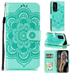 Intricate Embossing Datura Solar Leather Wallet Case for Huawei P40 Pro+ / P40 Plus 5G - Green