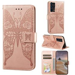 Intricate Embossing Rose Flower Butterfly Leather Wallet Case for Huawei P40 Pro+ / P40 Plus 5G - Rose Gold