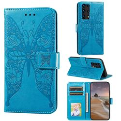 Intricate Embossing Rose Flower Butterfly Leather Wallet Case for Huawei P40 Pro+ / P40 Plus 5G - Blue
