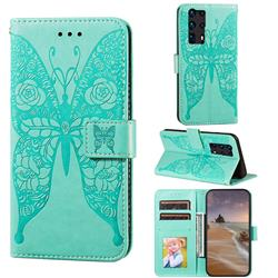 Intricate Embossing Rose Flower Butterfly Leather Wallet Case for Huawei P40 Pro+ / P40 Plus 5G - Green