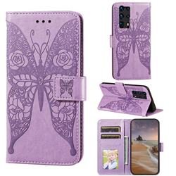 Intricate Embossing Rose Flower Butterfly Leather Wallet Case for Huawei P40 Pro+ / P40 Plus 5G - Purple