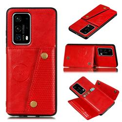 Retro Multifunction Card Slots Stand Leather Coated Phone Back Cover for Huawei P40 Pro+ / P40 Plus 5G - Red
