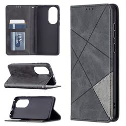 Prismatic Slim Magnetic Sucking Stitching Wallet Flip Cover for Huawei P50 - Black