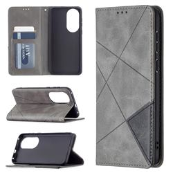 Prismatic Slim Magnetic Sucking Stitching Wallet Flip Cover for Huawei P50 - Gray