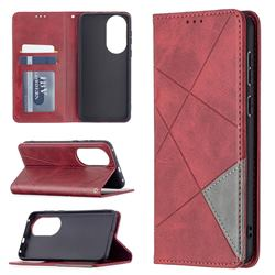Prismatic Slim Magnetic Sucking Stitching Wallet Flip Cover for Huawei P50 - Red
