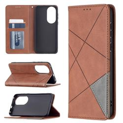 Prismatic Slim Magnetic Sucking Stitching Wallet Flip Cover for Huawei P50 - Brown