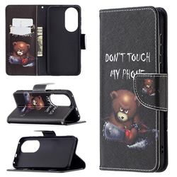 Chainsaw Bear Leather Wallet Case for Huawei P50