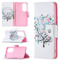 Colorful Tree Leather Wallet Case for Huawei P50
