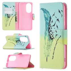 Feather Bird Leather Wallet Case for Huawei P50