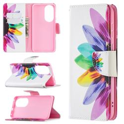 Seven-color Flowers Leather Wallet Case for Huawei P50