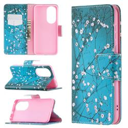 Blue Plum Leather Wallet Case for Huawei P50