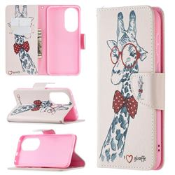 Glasses Giraffe Leather Wallet Case for Huawei P50