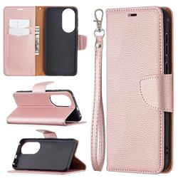 Classic Luxury Litchi Leather Phone Wallet Case for Huawei P50 - Golden