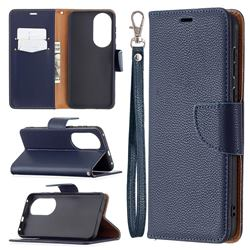 Classic Luxury Litchi Leather Phone Wallet Case for Huawei P50 - Blue