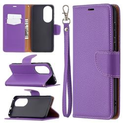 Classic Luxury Litchi Leather Phone Wallet Case for Huawei P50 - Purple