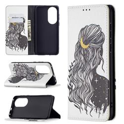 Girl with Long Hair Slim Magnetic Attraction Wallet Flip Cover for Huawei P50