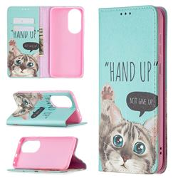Hand Up Cat Slim Magnetic Attraction Wallet Flip Cover for Huawei P50