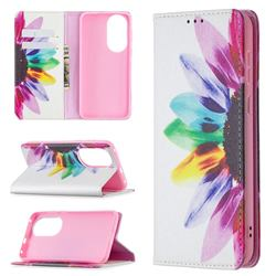 Sun Flower Slim Magnetic Attraction Wallet Flip Cover for Huawei P50