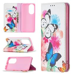 Flying Butterflies Slim Magnetic Attraction Wallet Flip Cover for Huawei P50