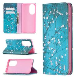 Plum Blossom Slim Magnetic Attraction Wallet Flip Cover for Huawei P50