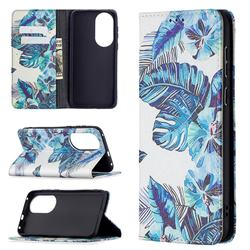 Blue Leaf Slim Magnetic Attraction Wallet Flip Cover for Huawei P50