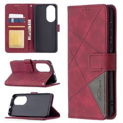 Binfen Color BF05 Prismatic Slim Wallet Flip Cover for Huawei P50 - Red