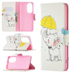 Umbrella Elephant Leather Wallet Case for Huawei P50